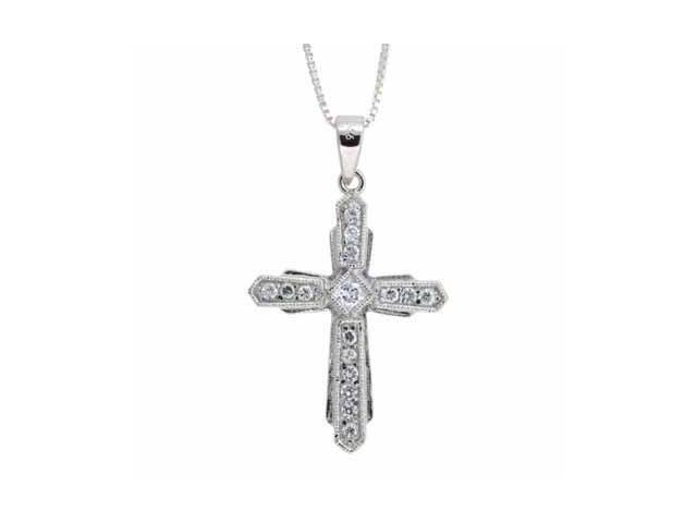 Sterling Silver Simulated Diamond CZ Cross Pendant