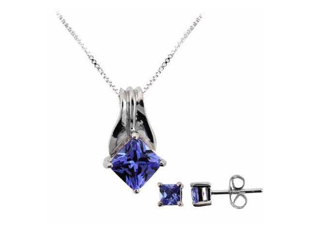 Sterling Silver Simulated Tanzanite cz Pendant and Stud Earrings Set