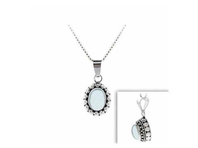 Sterling Silver Genuine Blue Topaz Stone Bali Bead Oval Pendant