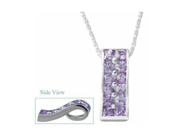 Dazzling Sterling Silver Dazzling Trendy Simulated Amethyst Pendant