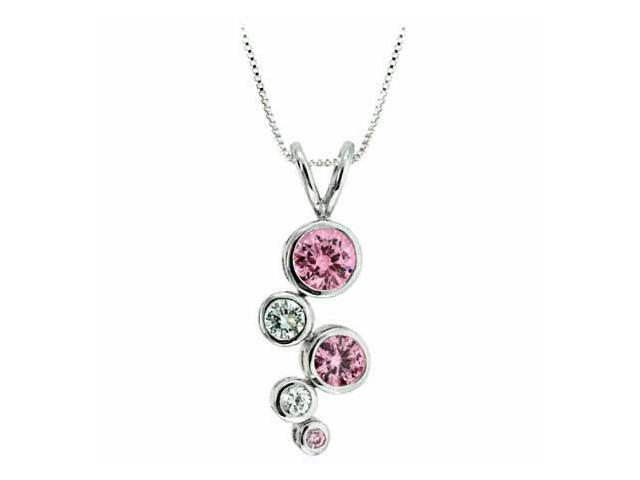 Sterling Silver Designer Pink Cubic Zirconia and Simulated Diamond CZ Bubble Pen