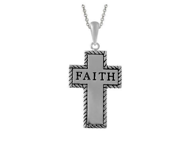 Sterling Silver Inspirational 'Faith' Cross Pendant