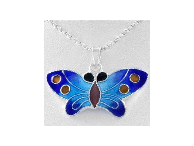 Sterling Silver Enamel Butterfly Pendant