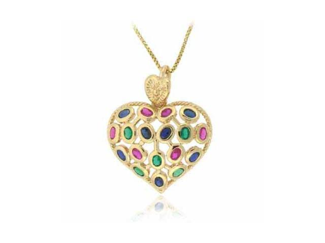 Vermeil (24kt Gold over Silver) Red, Blue, and Green cubic zirocnia Heart Pendan