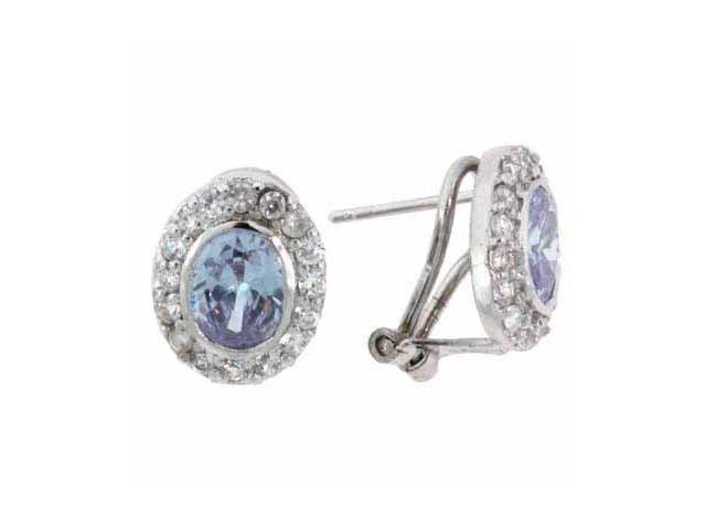 Sterling Silver Lavender and Simulated Diamond CZ Oval Earrings