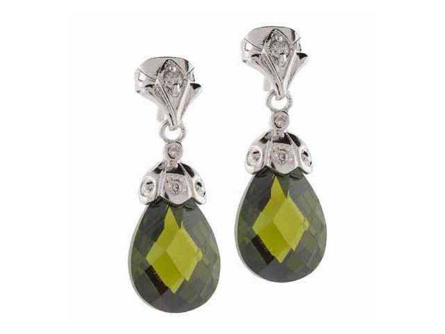 Sterling Silver Simulated Diamond and Olive cz Teardrop Earrings