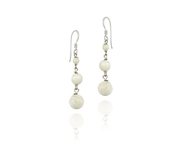 Sterling Silver Genuine Mother Of Pearl Three Graduating Bead Earrings