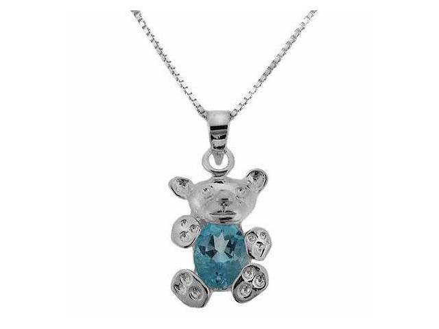 Sterling Silver Genuine Blue Topaz Stone Teddy Bear Pendant