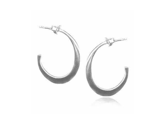 Oval Sterling Silver Hoop Earrings