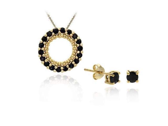 18K Gold/ Sterling Silver Sapphire Pendant Stud Earring Set
