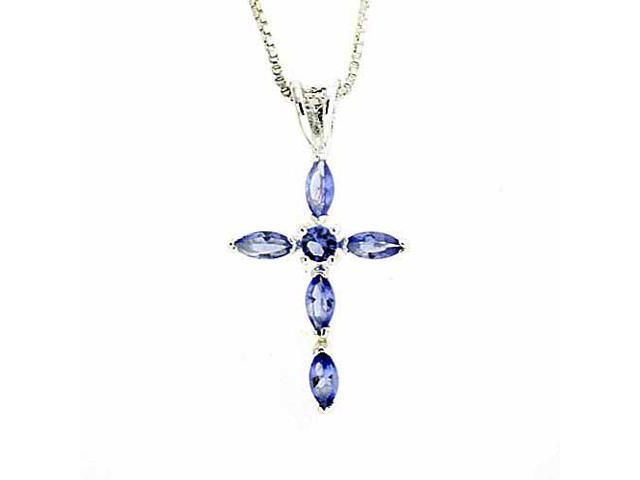 Sterling Silver and Simulated Tanzanite CZ Cross Pendant