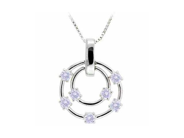 Sterling Silver Floating Lavender Cubic Zirconia Double Circle Pendant