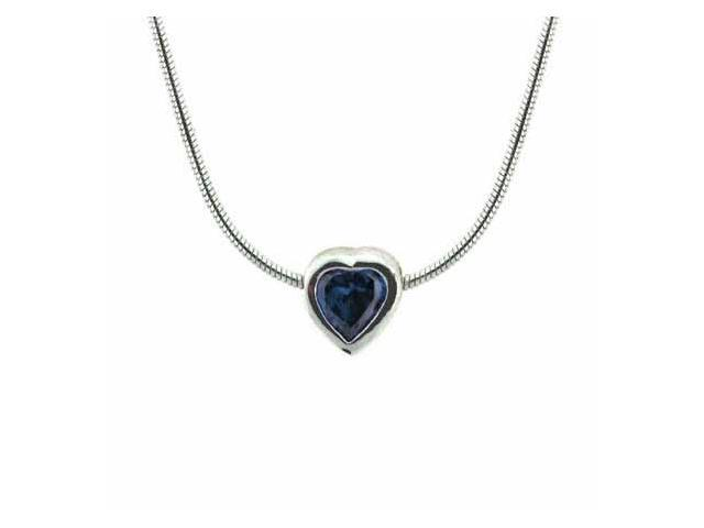 Sterling Silver Bezel Set Simulated Tanzanite cz Heart Pendant