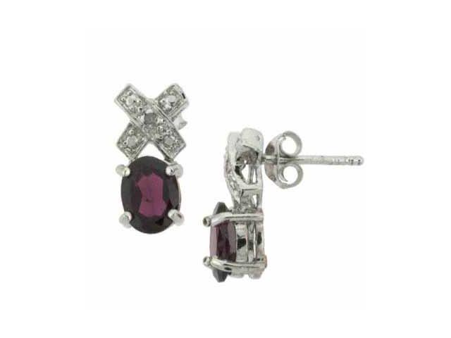 Genuine Garnet and Genuine Diamond Accent X O Silver Earrings