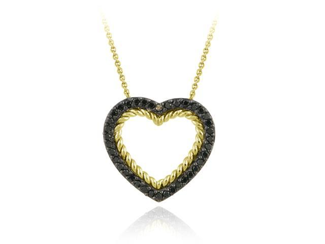 18K Gold over Sterling Silver and .38ct. TDW Champagne Diamond Open Heart Pendan
