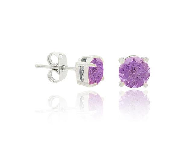 Sterling Silver.925 Simulated Amethyst cz 5mm Round Prong Stud Earrings