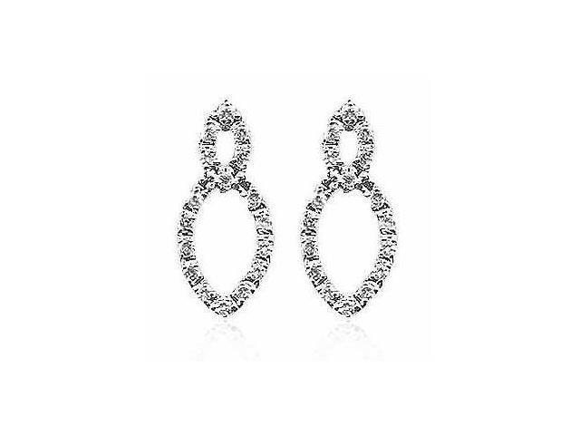 Simulated Diamond CZ Leaf Shape Design Sterling Silver Earrings