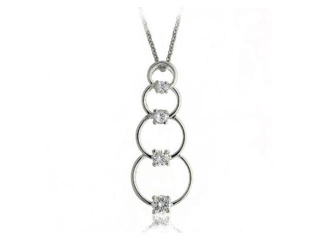 Sterling Silver & CZ Stacked Circles Journey Pendant