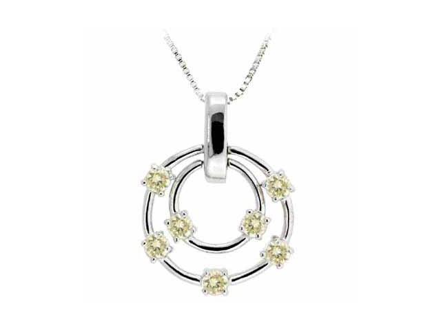Sterling Silver Floating Champagne Cubic Zirconia Double Circle Pendant