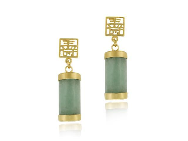 18K Gold over Sterling Silver and Green Chinese Jade 'Longevity' Dangle Earrings