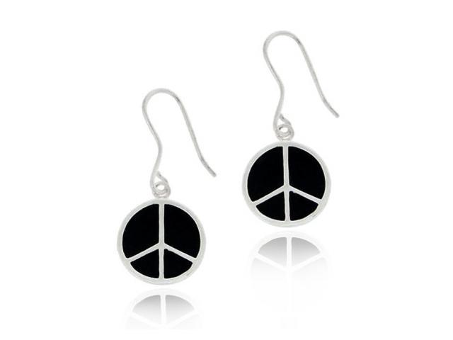 Sterling Silver Black Enamel Peace Sign Dangle Earrings