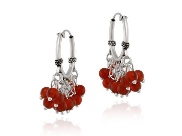 Sterling Silver Beaded Chandelier Carnelian Earrings