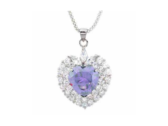 Sterling Silver Lavender & Clear CZ Heart Pendant
