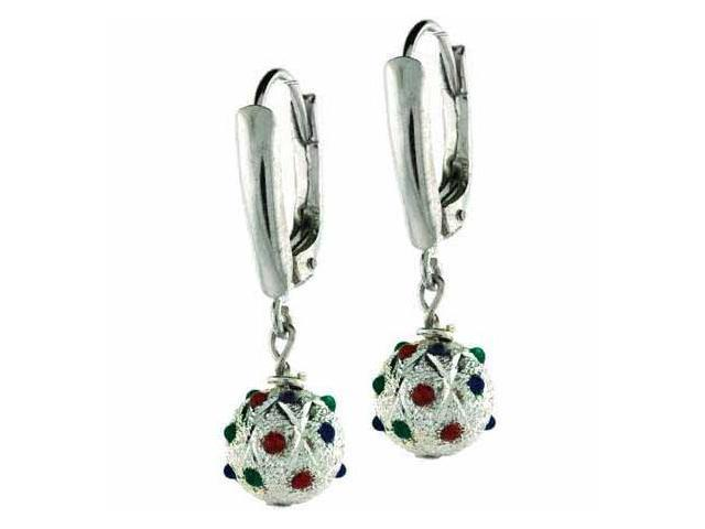 Sterling Silver Green Red and Blue cz Satin Bead LeverBack Lever Back Earrings
