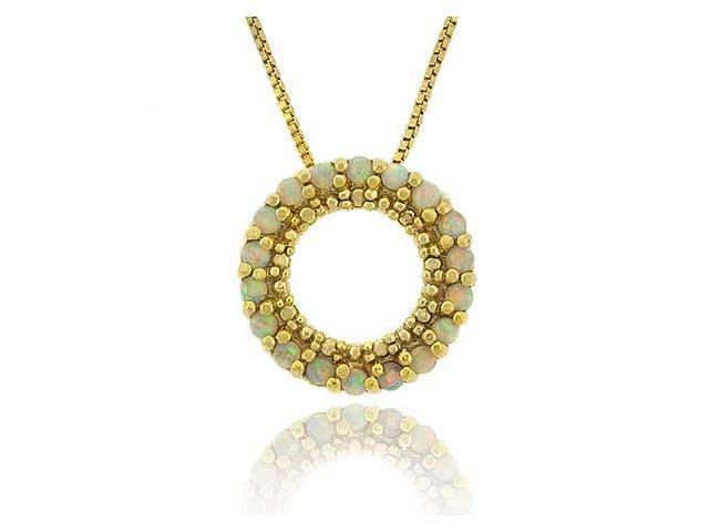 18K Gold over Sterling Silver Created Fiery White Opal Round Eternity Pendant