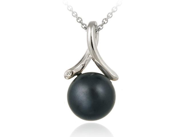 Sterling Silver Simulated Gray Pearl w/ CZ Twist Pendant