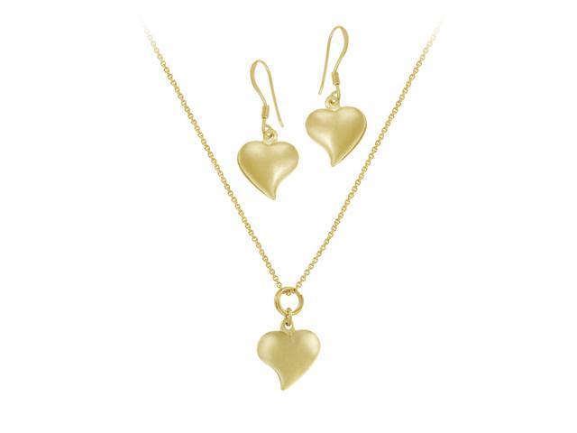 18K Gold over Sterling Silver Classic Heart Pendant & Dangling Earrings Set