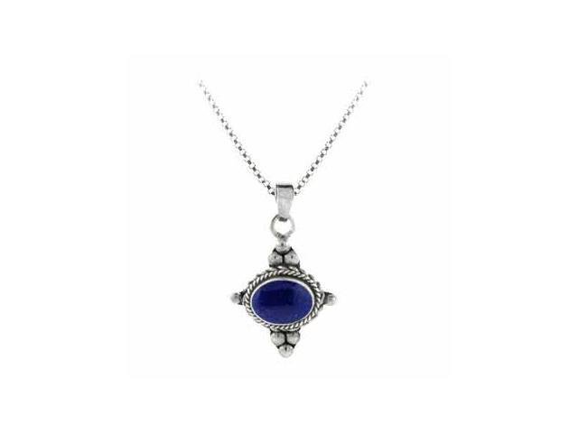 Sterling Silver Bali Beaded Genuine Lapis Stone East West Pendant