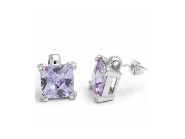 Sterling Silver Lavender Cubic Zirconia and Simulated Diamond CZ Heart Square St