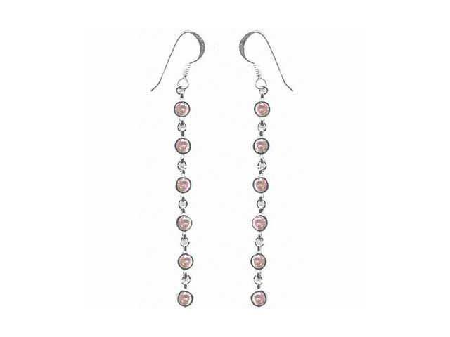 Pink CZ and Sterling Silver Dangle Earrings