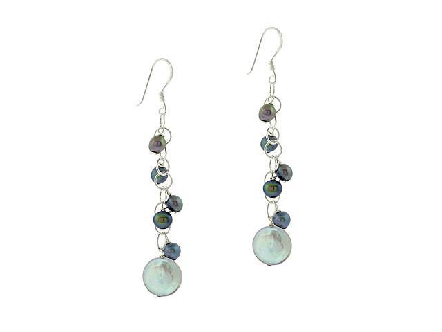 Sterling Silver .925 Iridescent Genuine Gray Black Freshwater Cultured Coin Pear