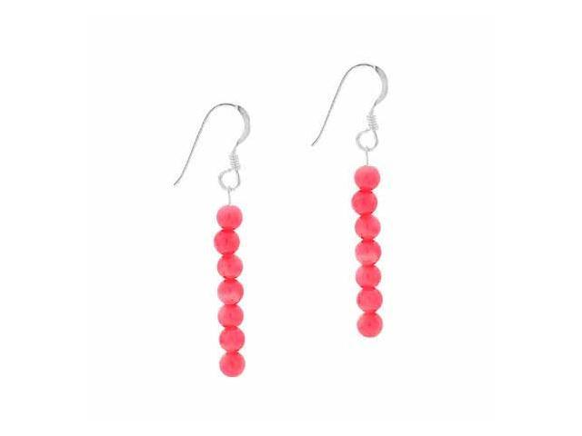 Sterling Silver 4mm Simulated Pink Coral Stone 6 Bead Beaded Dangle Hook Earring