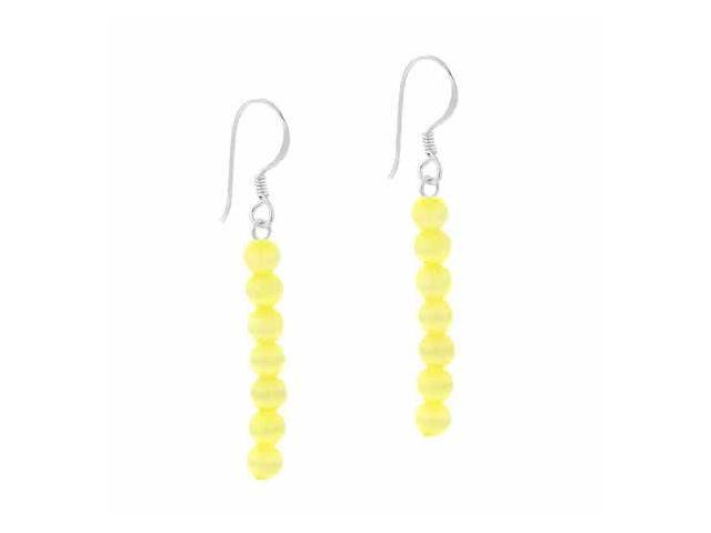 Sterling Silver 4mm Simulated Yellow Cats Eye Stone Bead Beaded Dangle Hook Earr