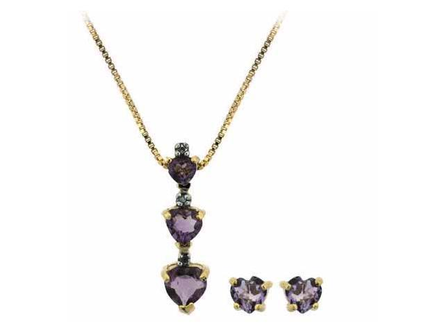 Vermeil (24k Gold over Sterling Silver) Genuine Amethyst Heart Pendant and Earri