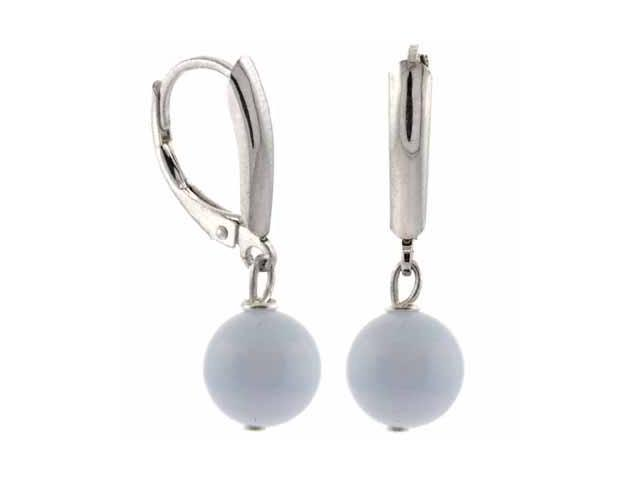 Sterling Silver Genuine Lace Agate Bead Dangling LeverBack Lever Back Earrings