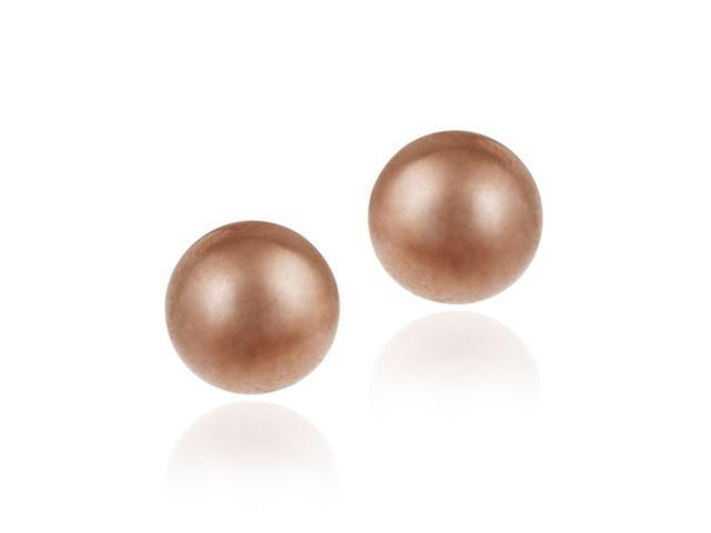 18K Rose Gold over Sterling Silver 6mm Ball Stud Earrings