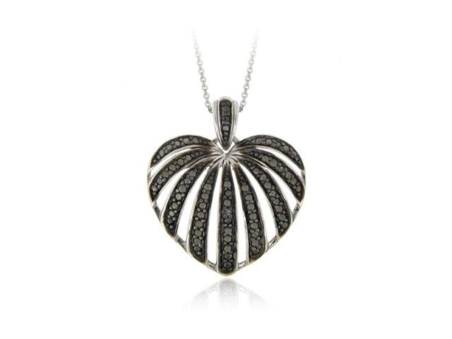Sterling Silver Black Diamond Accent Striped Heart Pendant