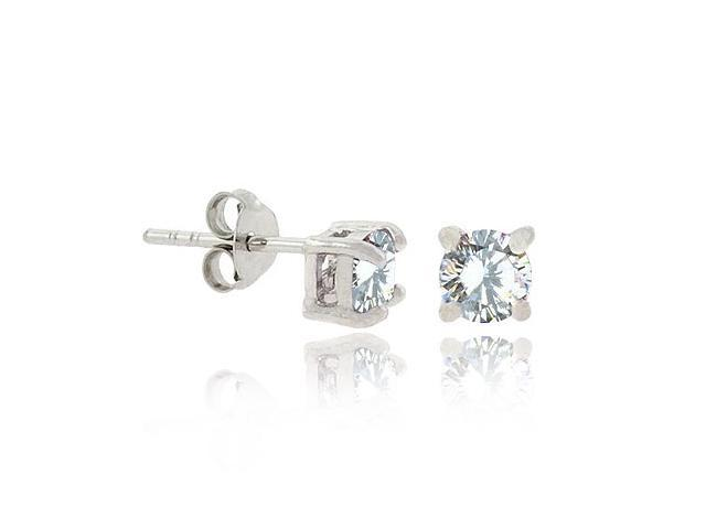 Round Simulated Diamond CZ Studs Silver Celebrity Earrings