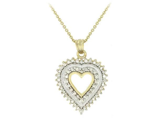18k Gold over Silver 1/2 CTW Diamond Heart Pendant