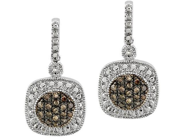 Sterling Silver 2/5ct TDW Champagne Diamond Dangle Earrings