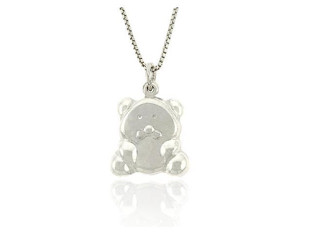 Cute Sterling Silver .925 Chubby Teddy Bear Pendant