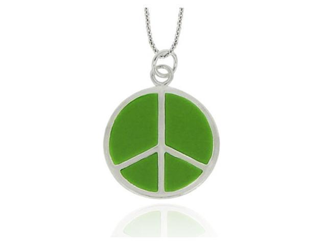 Sterling Silver Green Enamel Peace Sign Pendant