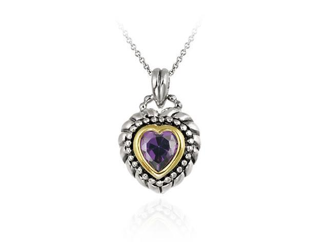 Sterling Silver Two Tone Designer Inspired Purple CZ Heart Pendant w/ Beaded Bor