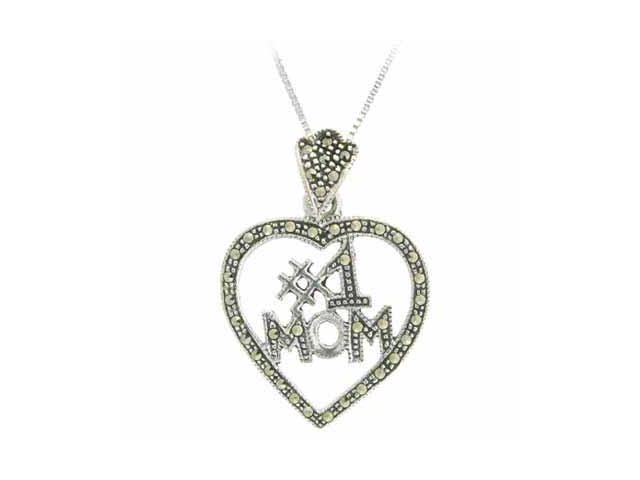 Sterling Silver Marcasite #1 MOM Open Heart Pendant