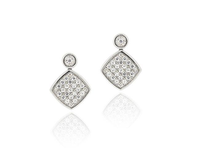 Sterling Silver CZ Micro Pave Diamond Shaped Drop Earrings