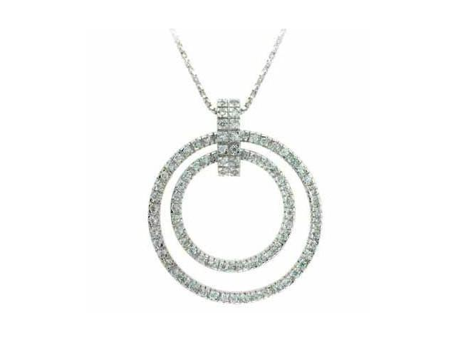 Celebrity Silver Dangling Eternity Simulated Diamond CZ Circle Slide Pendant